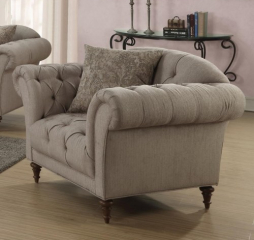 Alasdair Chair with Button Tufting and Rolled Arms by Coaster