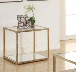 Calantha End Table with Mirror Shelf by Coaster