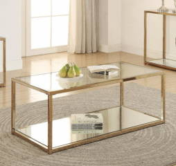 Calantha Coffee Table with Mirror Shelf by Coaster