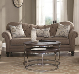 Carnahan Traditional Sofa with Tufted Reverse Camel Back by Coaster