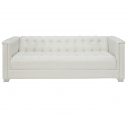 Chaviano Low Profile Pearl White Tufted Sofa by Coaster