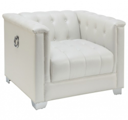 Chaviano Low Profile Pearl White Tufted Chair by Coaster