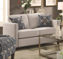 Coltrane Transitional Loveseat with Nail Head Trim by Coaster