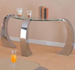 Custer Contemporary Sofa Table with Metal Base and Curved Glass Top by Coaster