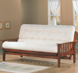 Casual Futon Frame and Mattress Set with Slat Side Detail