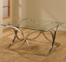 Coffee Table with Tempered Glass Top by Coaster