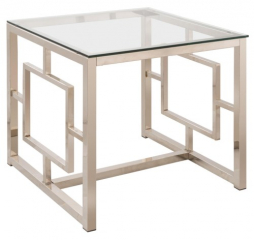Contemporary Metal End Table with Glass Top & Geometric Motif by Coaster