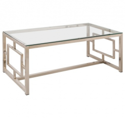 Contemporary Metal Coffee Table with Glass Table Top & Geometric Motif by Coaster