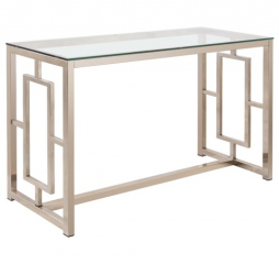 Contemporary Metal Sofa Table with Glass Top & Geometric Motif by Coaster
