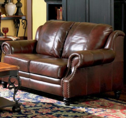 Princeton Leather Love Seat with Nail Head Trim by Coaster