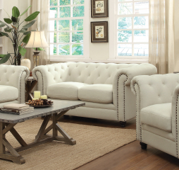 Roy Traditional Button-Tufted Love Seat with Rolled Back and Arms by Coaster