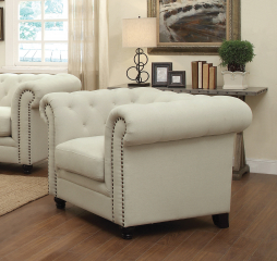Roy Traditional Button-Tufted Chair with Rolled Arms and Back by Coaster