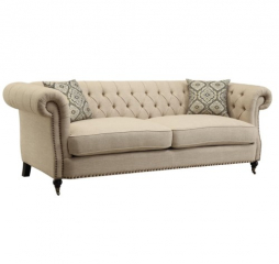 Trivellato Traditional Button Tufted Sofa with Large Rolled Arms and Nailheads by Coaster
