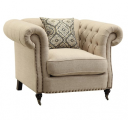 Trivellato Traditional Button Tufted Chair with Large Rolled Arms and Nailheads by Coaster