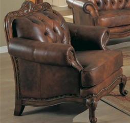 Victoria Rolled Arm Leather Chair by Coaster