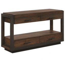 Industrial Sofa Table w/ Four Drawers by Coaster