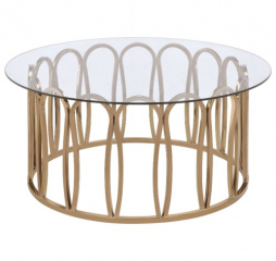Modern Round Coffee Table w/ Metal Base by Coaster