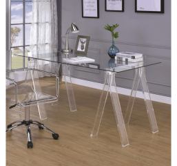 Amaturo Clear Acrylic Sawhorse Writing Desk by Coaster