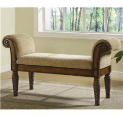 Brown and Caramel Upholstered Bench w/ Rolled Arms by Coaster