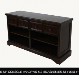Rainer 58″ Console w/ Two Drawers and Two Adjustable Shelves by North American Wood