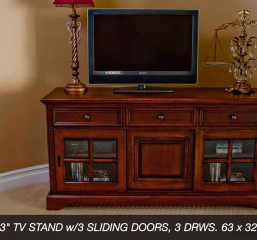 Rainer 63″ TV Stand w/ Three Sliding Doors and Three Drawers by North American Wood