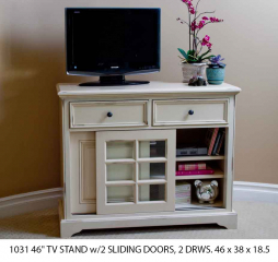 Rainer 46″ TV Stand w/ Two Sliding Doors and Two Drawers by North American Wood