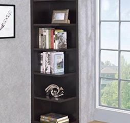 Transitional Cappuccino Corner Bookcase by Coaster