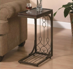 Traditional Brown and Burnished Copper Accent Snack Table by Coaster