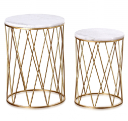 Old Gold Set of Two Round Gold Nesting Tables with Marble Tops by Stylecraft