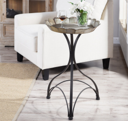 Silver and Black Large Cole Metal Accent Table by Stylecraft