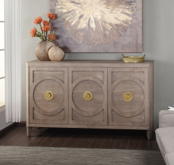 Brooks Sideboard Three Door Buffet Cabinet made of Straight Grain by Stylecraft