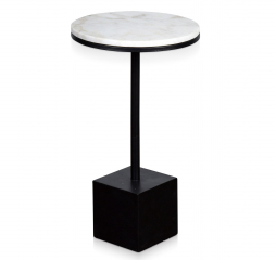 Podium Perch Round Marble Top Accent Table with Square Black Pedestal by Stylecraft