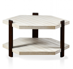 Course Grain Two Tier Hexagon White Plank Coffee Table with Espresso Finish by Stylecraft