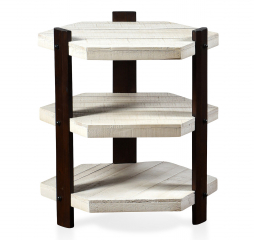 Course Grain Three Tier Hexagon White Plank Side Table with Espresso Finish by Stylecraft