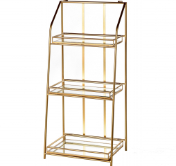 Baker Shelf Three Tier Gold Metal Shelf Unit with Mirrored Shelves by Stylecraft