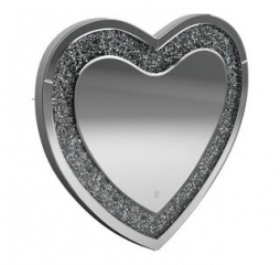 Silver Heart Shape Wall Mirror by Coaster