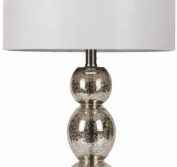 Transitional White and Antique Silver Drum Shade Table Lamp by Coaster