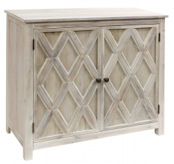 Crosshatch Cabinet White Gray Wash 2 Door Acacia Cabinet with Metal Base by Stylecraft