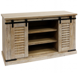 Bisque Sliding Barn Door Pine Media Console with Removable Shelves by Stylecraft