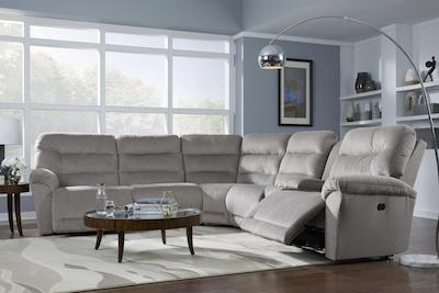 A modern looking dining room sectional