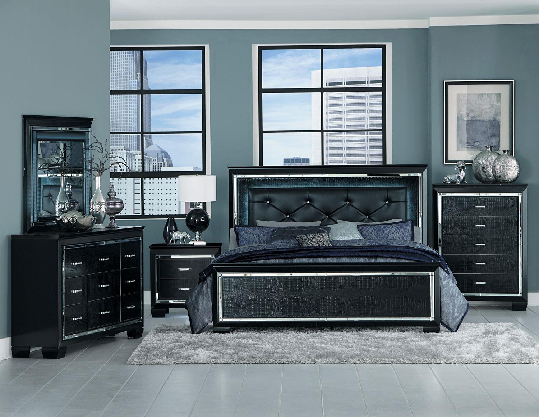 Portland Modern Grey 5pcs New Bedroom Set W King Size Led Lighted Headboard Bed