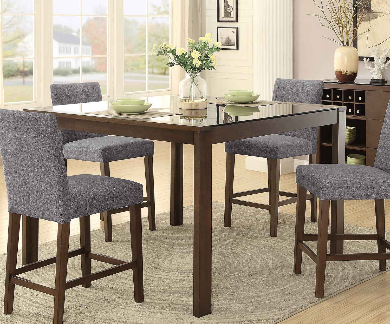 dining table with insert kemper fielding counter height dining table w black glass insert by homelegance
