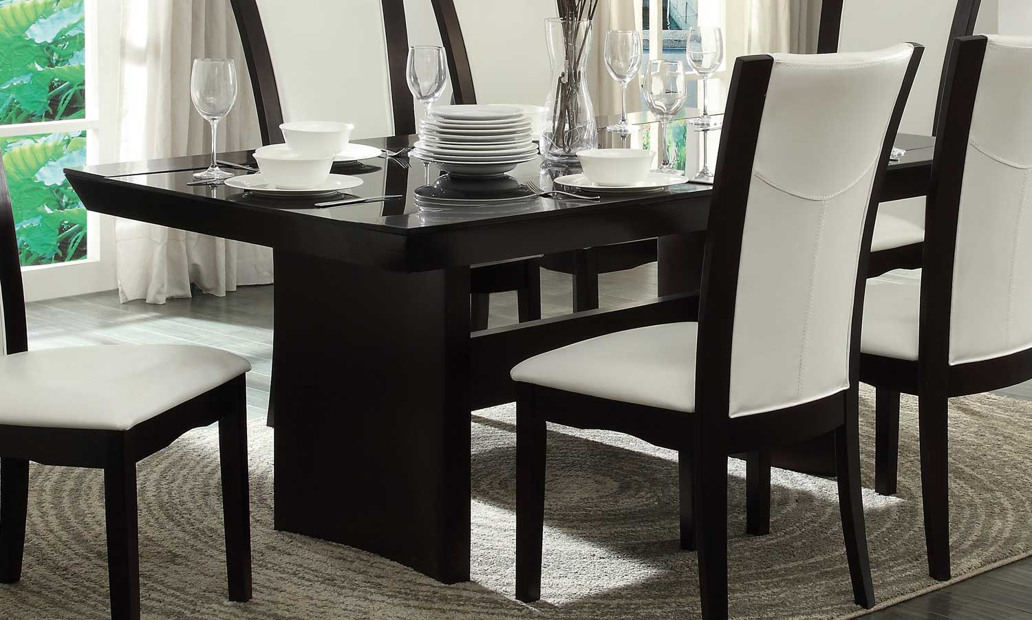 Daisy Dining Table W Gl Insert By Homelegance