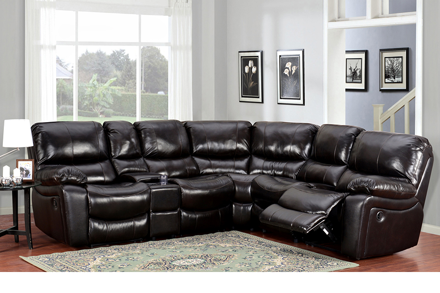 Ramsey Reclining Sectional In Black Cherry Leather