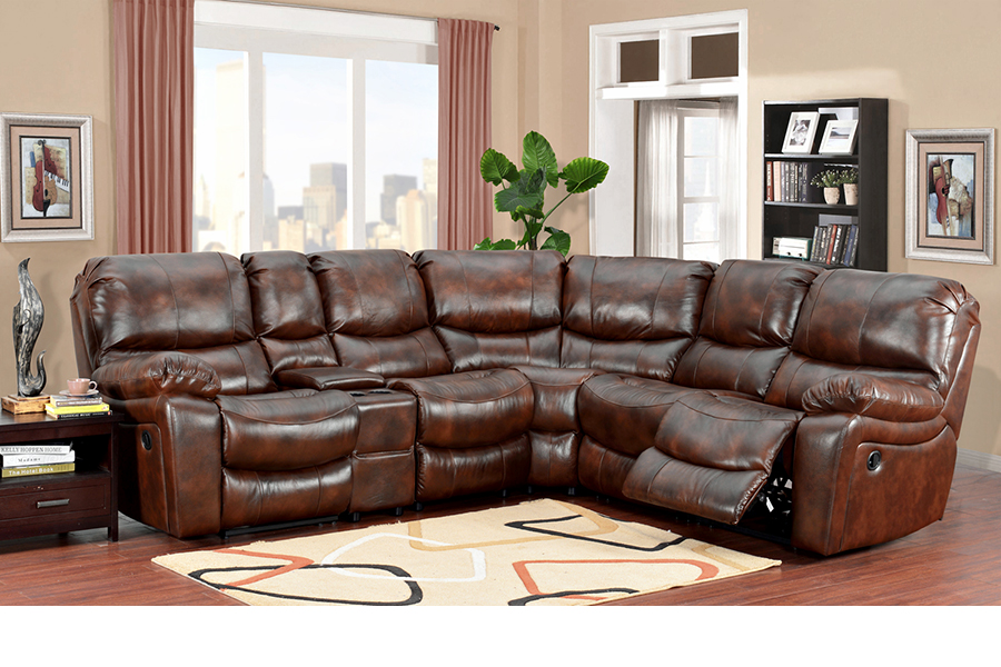 Ramsey Reclining Sectional In Cognac Leather Broadway