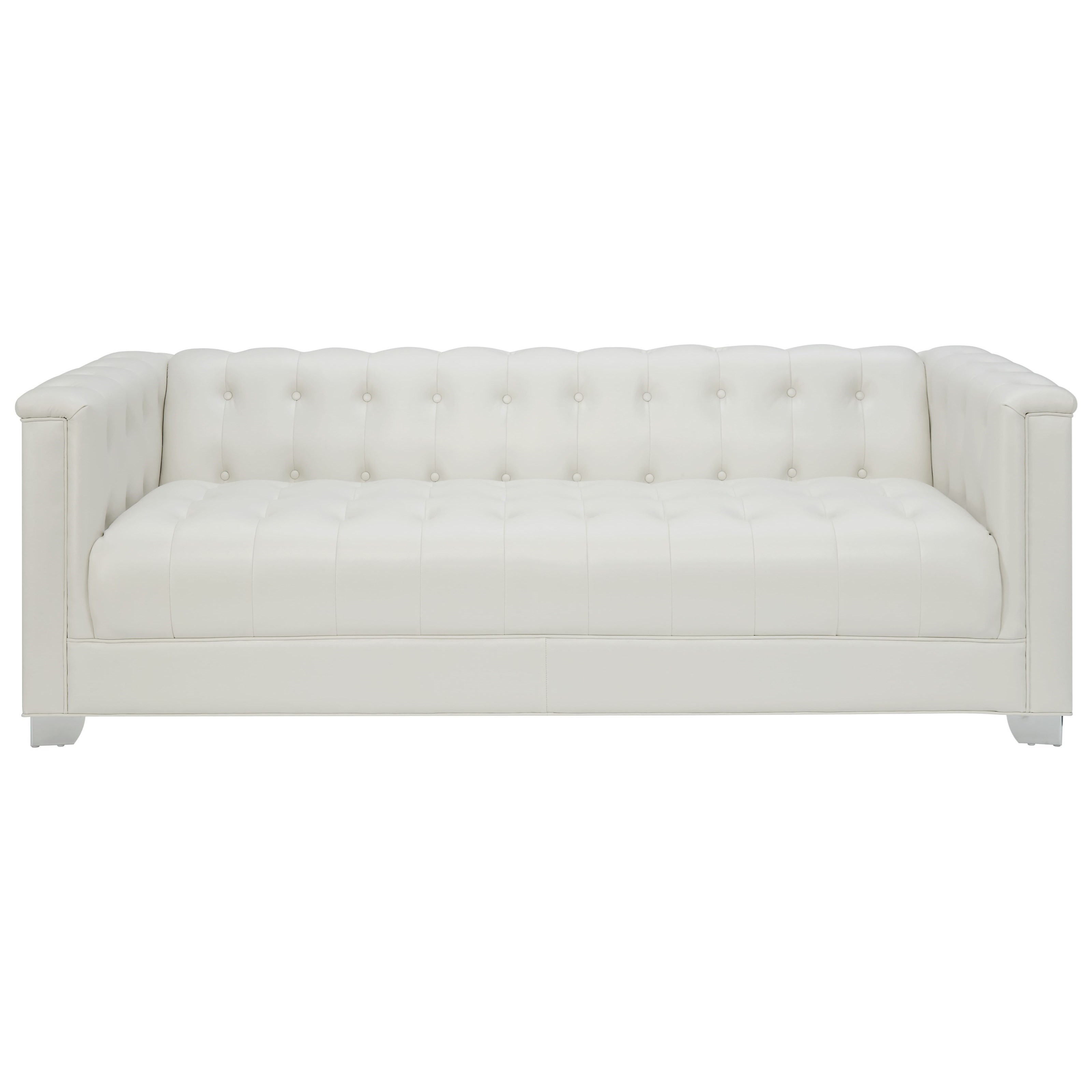 Pearl White Tufted Sofa By Coaster