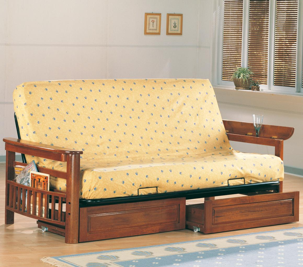 Casual Futon Frame and Mattress with Flip Up Arms Magazine Racks